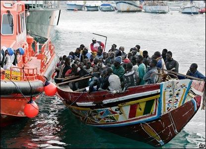 Migrant boat in Los Cristianos