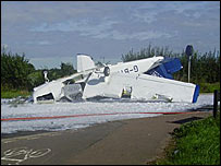 The wreckage of the light aircraft