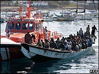Migrant boat at Los Cristianos