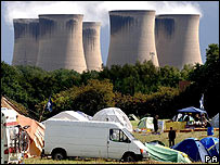 Drax power station with camp