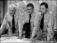 Henry Fonda, Glenn Ford and Robert Mitchum in the 1975 film Midway