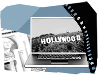 Laptop Computer, a film roll and the LA Hollywood Sign
