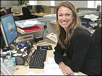 England lock Jenny Sutton at her office in the City of London