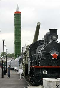 Train-mounted intercontinental missile on display at St Petersburg's Warsaw Station railway museum