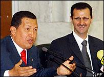 Hugo Chávez y el presidente sirio Bashar Assad