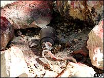Cluster bomb lying on ground in Lebanon