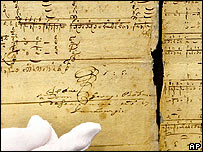 Signature of J S Bach on original handwritten music script found in Weimar