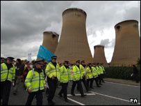 Police at Drax power station