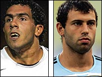 Tevez (left) and Mascherano have been linked with the top clubs in Europe