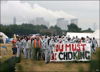 Protesters at Drax power station