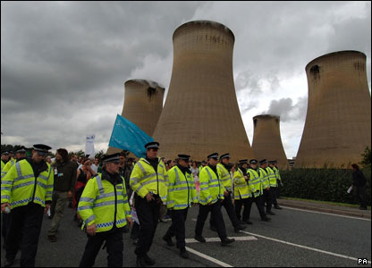 Demonstrators at Drax power station