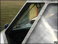 The damaged windscreen