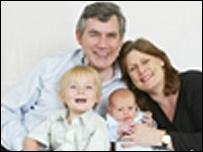 Gordon Brown with his wife Sarah and their sons John and James