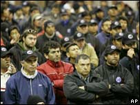 Striking miners from the Escondida copper mine in northern Chile at a union meeting last Friday