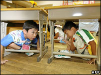 Elementary school children crouch under their desks as part of a nationwide earthquake drill at a Tokyo elementary school, 01 September 2006.