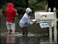 A flooded neighbourhood in Wilmington, North Carolina, on Thursday