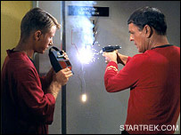 Scotty blasts open a door - image courtesy of STARTREK.COM