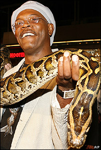 Samuel L Jackson at the Snakes on a Plane premier