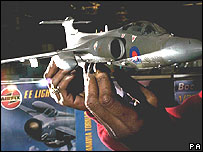 Airfix scale model of a Buccaneer jet
