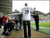 Nicolas Anelka meets the media in Bolton