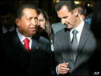 Hugo Chavez and Syria's President Bashar Assad in Damascus