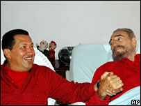 Hugo Chavez visits Fidel Castro in hospital in Cuba