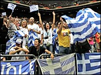Greek fans are in joyous mood at the final buzzer