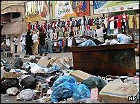 Rubbish piles up in Gaza city following a strike by municipal workers