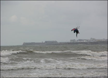 A kite surfer on the beach at Merthyr Mawr looking towards Porthcawl (Maria Golightly)