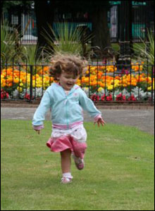 Christine Lewis' two year old daughter Megan running in Cardiff's Victoria Park