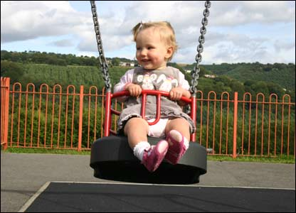 Eliza Grace enjoying a swing at Treown Park, Newbridge, sent by Adam Wilcox