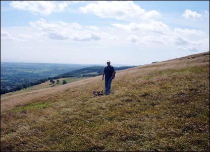 Ben Ellam from Cwmbran walking the dogs on the mountain above Cwmbran (Mynydd Maen) looking over the Bristol Channel