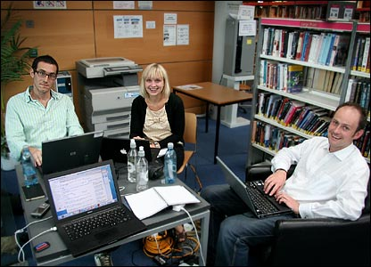 The BBC News website team in Norwich's library
