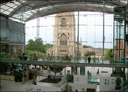 View of St Peter Mancroft church from inside the Forum