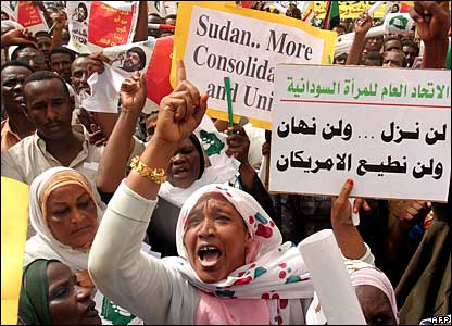Sudanese protesting against the deployment of UN peacekeepers