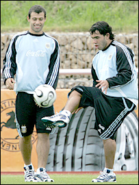 Argentina's Carlos Tevez and Javier Mascherano in training at the World Cup