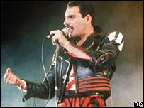 Singer Freddie Mercury of the rock group Queen in 1985