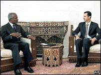 Kofi Annan with Syrian President Bashar al-Assad in Damascus