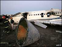 The wreck of the airliner at Mashhad