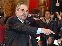 Raúl Alfonsín en agosto de 2006 en el juicio de Miguel Etchecolatz, un militar acusado de violaciones de derechos humanos