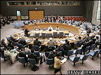 The UN Security Council meets to hear a report on Iran's nuclear programme, 22 August 2006