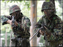 South Korean soldiers take part in military exercises with US forces