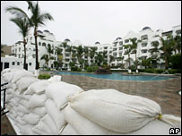 Sandbags outside a hotel in the resort of Cabo San Lucas