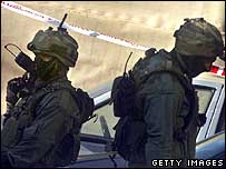 Israeli special police secure the British embassy compound in Tel Aviv