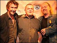 Wes Packer with comedians Steve Coogan (left) and Bill Bailey (right)
