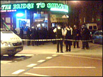 Police outside The Bridge to China Town restaurant