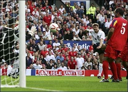 Steven Gerrard scores for England