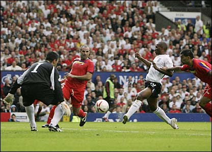 Jermain Defoe volleys home England's third goal