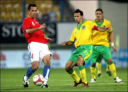 Wales' Ryan Giggs in action against Czech Republic's Tomas Galasek