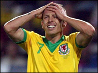Wales striker Craig Bellamy shows his despair in Teplice